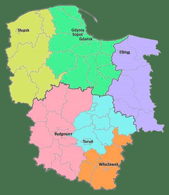 mapa - zakres terytorialny - kancelaria komornicza Grudziądz